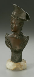 Bronze:American, UNKNOWN ARTIST. Female Bust. Bronze mounted to marble base.7.4in. high x 3in. deep. Cast signature to right side (indec...