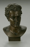 Bronze:American, UNKNOWN ARTIST. Lord Byron Bust. Bronze. 4.5in. high; 2.75in. deep. Titled Byron to obverse. ...