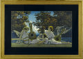 Prints:American, MAXFIELD PARRISH (American 1870 - 1966). The Lute Players, 1924. Period print on paper. 30 x 11.5in.. Provenance: Private co...