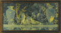 Prints:American, MAXFIELD PARRISH (American 1870 - 1966). The Garden of Allah, 1918.Period print on paper (House of Art). 15 x 30in.(image s...