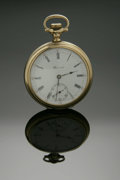 Clocks & Mechanical, A GOLD POCKET WATCH WITH ORIGINAL BOX. E. Howard Watch Co., Boston, c.1906. The timepiece with seventeen (17) Jewels, six... (Total: 1 Item Item)