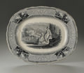 Ceramics & Porcelain, British:Modern  (1900 1949)  , AN ENGLISH STONEWARE PLATTER. The oval platter with shaped rim,interior depicting detailed Roman scene with two females i...