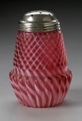 Art Glass:Other , AN AMERICAN CHRYSANTHEMUM BASE STRIPED CRANBERRY SUGAR CASTER...