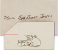 Books:Manuscripts, Frank James: A Delightful Signed Pen & Ink Drawing for hisBeloved Son Robbie. ...