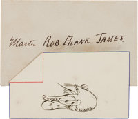 Frank James: A Delightful Signed Pen & Ink Drawing for his Beloved Son Robbie