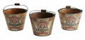 """Advertising:Small Novelties, H. J. Heinz Dated 1885 Three Wooden Jelly Buckets 2 1/2"""" tall with colorful paper labels and keystone logo that Heinz has m..."""