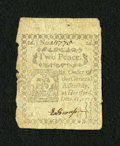 Colonial Notes:Connecticut, Connecticut October 11, 1777 Uncancelled 2d Fine. At first glancethis blue paper note appears to be a higher grade but the ...