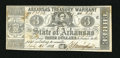 Obsoletes By State:Arkansas, Little Rock, AR- Arkansas Treasury Warrant $3 July 31, 1863 Cr. 42A. A tiny corner tip fold holds this brightly printed note...