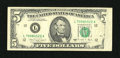 Error Notes:Obstruction Errors, Fr. 1980-L $5 1988A Federal Reserve Note. Very Fine.. Anobstruction affected the front right edge on this San Francisco$5....