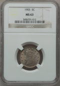 Liberty Nickels: , 1903 5C MS63 NGC. NGC Census: (118/517). PCGS Population (187/706).Mintage: 28,006,724. Numismedia Wsl. Price for problem ...