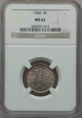 Liberty Nickels: , 1904 5C MS62 NGC. NGC Census: (53/566). PCGS Population (56/788).Mintage: 21,404,984. Numismedia Wsl. Price for problem fr...