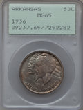 Commemorative Silver: , 1936 50C Arkansas MS65 PCGS. PCGS Population (291/102). NGC Census:(259/68). Mintage: 9,660. Numismedia Wsl. Price for pro...