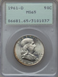 Franklin Half Dollars: , 1961-D 50C MS65 PCGS. PCGS Population (481/17). NGC Census:(772/10). Mintage: 20,276,442. Numismedia Wsl. Price for proble...