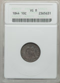 Seated Dimes: , 1844 10C VG8 ANACS. NGC Census: (4/65). PCGS Population (21/188).Mintage: 72,500. Numismedia Wsl. Price for problem free N...