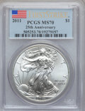 Modern Bullion Coins, 2011 $1 One Ounce Silver American Eagle,25th Anniversary, FirstStrike MS70 PCGS. PCGS Population (38356). NGC Census: (528...