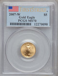Modern Bullion Coins, 2007-W $5 Tenth-Ounce Gold Eagle, First Strike MS70 PCGS. PCGSPopulation (353). NGC Census: (0). ...