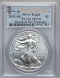 Modern Bullion Coins, 2011-(S) $1 Silver Eagle, Struck at San Francisco, First StrikeMS70 PCGS. PCGS Population (22681). NGC Census: (0)....