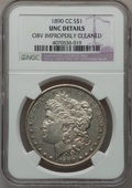 Morgan Dollars: , 1890-CC $1 -- Obverse Improperly Cleaned -- NGC Details. UNC. NGCCensus: (88/4466). PCGS Population (154/8528). Mintage: 2...