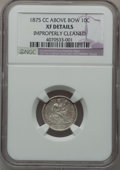 Seated Dimes: , 1875-CC 10C Mintmark Above Bow -- Improperly Cleaned -- NGCDetails. XF. NGC Census: (6/263). PCGS Population (6/205). Mint...