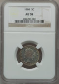 Liberty Nickels: , 1884 5C AU58 NGC. NGC Census: (26/342). PCGS Population (41/397).Mintage: 11,273,942. Numismedia Wsl. Price for problem fr...