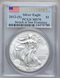 Modern Bullion Coins, 2012(-S) $1 Silver Eagle, Struck at San Francisco, First StrikeMS70 PCGS. PCGS Population (21846). NGC Census: (23085)...
