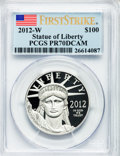 Modern Bullion Coins, 2012-(W) $100 One-Ounce Statue of Liberty, First Strike PR70 DeepCameo PCGS. PCGS Population (96). NGC Census: (0)....