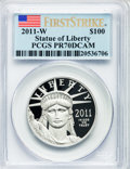 Modern Bullion Coins, 2011-W $100 One-Ounce Statue of Liberty, First Strike PR70 DeepCameo PCGS. PCGS Population (161). NGC Census: (1449)....