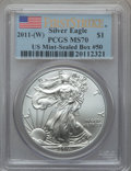 Modern Bullion Coins, 2011-(W) $1 Silver Eagle, First Strike MS70 PCGS. US Mint-SealedBox #50. PCGS Population (2687). NGC Census: (0)....