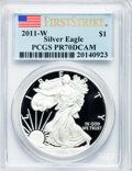 Modern Bullion Coins, 2011-W $1 One Ounce Silver Eagle, First Strike PR70 Deep CameoPCGS. PCGS Population (4401). NGC Census: (14950)....