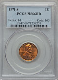 Lincoln Cents: , 1971-S 1C MS66 Red PCGS. PCGS Population (218/8). NGC Census:(182/26). Numismedia Wsl. Price for problem free NGC/PCGS co...