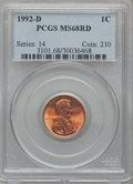 Lincoln Cents: , 1992-D 1C MS68 Red PCGS. PCGS Population (237/5). ...