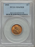 Lincoln Cents: , 1931 1C MS65 Red and Brown PCGS. PCGS Population (121/6). NGCCensus: (41/19). Mintage: 19,396,000. Numismedia Wsl. Price f...