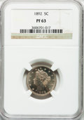 Proof Liberty Nickels: , 1892 5C PR63 NGC. NGC Census: (65/294). PCGS Population (113/380).Mintage: 2,745. Numismedia Wsl. Price for problem free N...