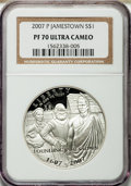 Modern Issues, 2007-P $1 Jamestown PR70 Ultra Cameo NGC and 2007-P $1 JamestownMS70 NGC. ... (Total: 2 coins)