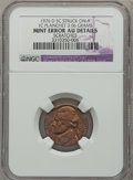 Errors, 1976-D 5C Jefferson Nickel Struck on a 1C Planchet -- Scratches --NGC Details. AU. 3.06 Grams. NGC Census: (0/65). PCGS Po...