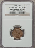 Errors, 1921-S 1C Lincoln Cents Struck 10% off Center VG 8 BN NGC. NGCPopulation (4/627). NGC Census: (1/335). Mintage: 15,274,000...