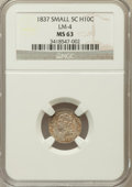 Bust Half Dimes, 1837 H10C Small 5C MS63 NGC. V-2, LM-4, R.3....