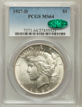 Peace Dollars: , 1927-D $1 MS64 PCGS. CAC. PCGS Population (1188/147). NGC Census:(776/77). Mintage: 1,268,900. Numismedia Wsl. Price for p...