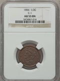 Half Cents: , 1856 1/2 C AU55 NGC. C-1. NGC Census: (13/252). PCGS Population(35/169). Mintage: 40,430. Numismedia Wsl. Price for probl...