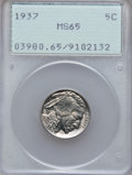 Buffalo Nickels: , 1937 5C MS65 PCGS. PCGS Population (5359/3873). NGC Census:(1903/4566). Mintage: 79,485,768. Numismedia Wsl. Price for pro...