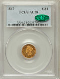 Gold Dollars: , 1867 G$1 AU58 PCGS. CAC. PCGS Population (9/45). NGC Census:(18/40). Mintage: 5,250. Numismedia Wsl. Price for problem fre...