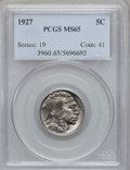 Buffalo Nickels: , 1927 5C MS65 PCGS. PCGS Population (679/291). NGC Census: (307/95).Mintage: 37,981,000. Numismedia Wsl. Price for problem ...