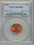 Lincoln Cents: , 1993 1C MS68 Red PCGS. PCGS Population (126/1). NGC Census: (50/1).Numismedia Wsl. Price for problem free NGC/PCGS coin i...