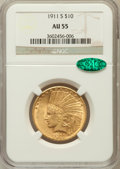 Indian Eagles, 1911-S $10 AU55 NGC. CAC....