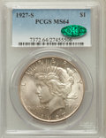 Peace Dollars, 1927-S $1 MS64 PCGS. CAC....
