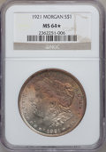 Morgan Dollars, 1921 $1 MS64 ★ NGC. NGC Census: (35713/8339). PCGS Population(23762/4233). Mintage: 44,690,00...
