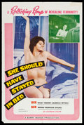 "Movie Posters:Sexploitation, She Should Have Stayed in Bed (Cinema Syndicate Inc., 1963). OneSheet (27"" X 41""). Sexploitation.. ..."