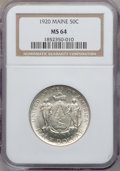 Commemorative Silver: , 1920 50C Maine MS64 NGC. NGC Census: (1116/1166). PCGS Population(1260/1337). Mintage: 50,028. Numismedia Wsl. Price for p...