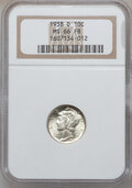, 1938-D 10C MS66 Full Bands NGC. NGC Census: (613/168). PCGSPopulation (1076/278). Mintage: 5,537,000. Numismedia Wsl. Pric...