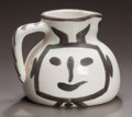 Ceramics & Porcelain, PABLO PICASSO (Spanish, 1881-1973). Pichet petite tête, 1953. Partially glazed ceramic pitcher. 5 x 5-1/2 x 5-1/2 inches...
